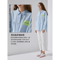 【春夏新品】初语2020春装新款牛仔衬衣女纯棉长袖宽松慵懒风港味潮设计感衬衫