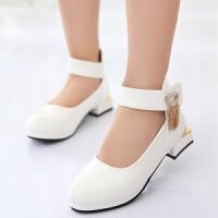 潮2018春秋韩版时尚淑女皮鞋单鞋 演出女新款中大童鞋小高跟大底