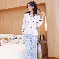 2018新款睡衣女士长袖家居服套装可爱格子3D蝴蝶休闲莫代尔两件套