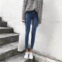 铅笔裤显瘦百搭高腰牛仔裤女春季新款韩版弹力紧身裤纯色九分裤