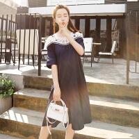 韩版孕妇装怀孕衣服夏装2018新款潮辣妈蕾丝拼接个性一字肩连衣裙5006 藏青