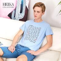 海一家男装2018夏季新品上衣男士潮流修身棉印花短袖T恤