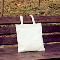 韩国帆布包女单肩手提简约小文艺清新学生书包袋 白色 空白-白包