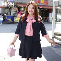 MsShe加大码女装2017新款秋装胖mm优雅通勤修身西装外套M1730125