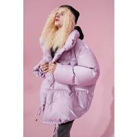 【新款】妖精的口袋亮面短款羽绒服女2020冬韩版白鸭绒面包服外套