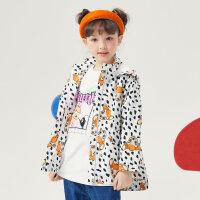 【1件4折价:103.6】moomoo童女童外套春秋新款儿童女孩小鹿斑比连帽风衣