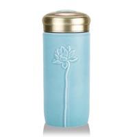 乾唐轩活瓷 清心福莲随身杯双层300ml 陶瓷带盖水杯子创意女士