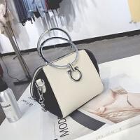 迷你链条圆环手提小包包2018夏天新款韩版撞色百搭贝壳斜挎包女包