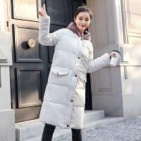 女中长款2018冬装新款学生羽绒棉衣过膝宽松加厚连帽棉袄外套