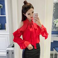 雪纺衬衫女长袖春2018新款韩版气质露肩荷叶边衬衣宽松喇叭袖上衣