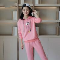 少女休闲套装初中高中生2018秋季宽松中学生卫衣韩版两件套运动服