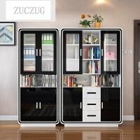 ZUCZUG现代简约三门书柜书桌书架自由组合 书房烤漆玻璃门简易家具柜子 1.2-1.4米宽