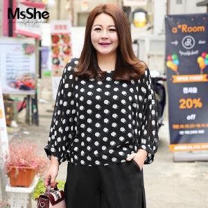 MsShe藏肉加大码女装2017新款秋装胖妹妹印花宽松雪纺衫M1710403