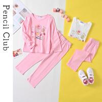 【3折价:33】铅笔俱乐部童装2020春装新款女童长袖套装中大童家居服儿童卡通
