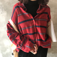 格子�r衫女�L袖��松�n版�W生bf�L�r衣潮2018春季新款百搭�@瘦上衣