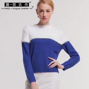 简约大方女士套头长袖针织衫上衣气质淑女修身显瘦马海毛拼接毛衣