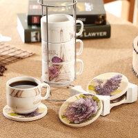 爱屋格林咖啡杯欧式家用套装陶瓷茶杯加杯垫高档简约优雅送收纳架