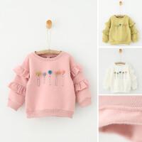 女童冬装加厚卫衣韩版新款儿童宝宝铅笔毛球休闲套头上衣打底衫
