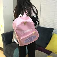韩国软妹少女原宿日系小清新可爱贝壳刺绣双肩包学生书包背包