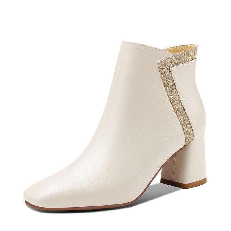 WARORWAR新品YG01-S1913秋冬欧美头层牛皮粗跟女靴子短靴