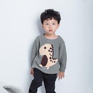 儿童小恐龙套头毛衣男宝宝针织衫小童双层线衫秋新品纯棉套头衫