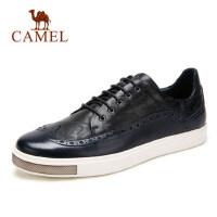 camel 骆驼板鞋男 春季牛皮男士休闲鞋 雕花系带鞋子男潮流韩版鞋