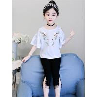 女童夏装新款套装韩版儿童装短袖两件套洋气刺绣潮