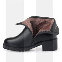 冬季2018新款中年女鞋妈妈鞋加绒保暖短靴防滑粗跟软底舒适棉皮鞋SN3967 43 女款