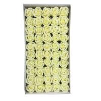 三层玫瑰香皂花头妇女节肥皂花头仿真花店礼盒 乳白色 (三层 一盒=50朵)
