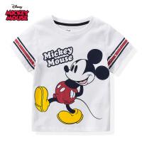 【99元3件专区】迪士尼米奇米妮童装男童夏装2020春夏新品短袖印花T恤白色