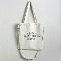帆布包单肩斜挎包背包学生手拎包购物袋逛街帆布袋 alos斜跨白包