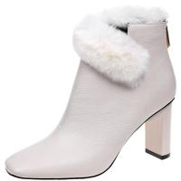 冬季马丁靴粗跟兔毛短靴女欧美高跟裸靴方头中跟短靴加绒女靴棉靴
