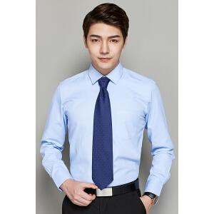 秋季白衬衫男士长袖修身纯色商务休闲伴郎衬衣寸大码工装职业正装