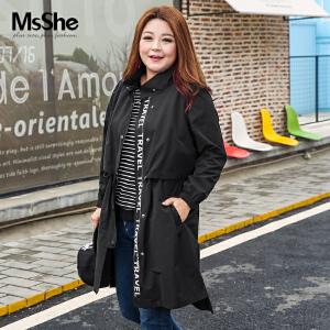 MsSHE加大码女装2017新款胖妹妹秋装中长款胖MM风衣外套M1710236