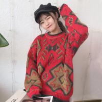 港味复古韩版甜美提花加厚保暖宽松圆领长袖套头毛衣女潮 图片色 均码 (0/84A)