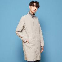 【1件2.5折到手价:69.8】美特斯邦威夹克男新款秋纯色梭织长款棒球衫韩版