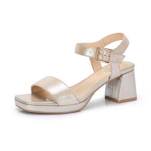 Camel/骆驼女鞋 2018夏季新品时尚优雅布纹羊皮扣带摩登高跟凉鞋
