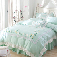 日式全棉纯棉公主风婴儿级超柔双层纱立体小雏菊床罩床裙款四件套 青色