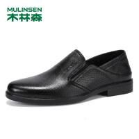 木林森男鞋真皮头层羊皮休闲鞋系带正装鞋SS97005