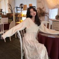 连衣裙两件套女秋冬毛衣吊带蕾丝网纱裙很仙的套装裙