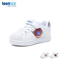 天美意teenmix童鞋18新款小白鞋时尚潮流儿童运动鞋贝壳头学生鞋男女童户外休闲鞋 (5-10岁可选)DX0382