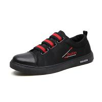 男鞋子秋季透气小黑鞋男士运动休闲板鞋韩版皮面百搭潮鞋