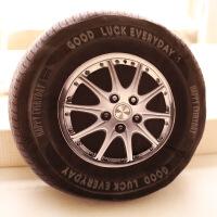 个性创意 逼真3d汽车轱辘毛绒靠垫 男孩玩具 车载居家抱枕 轮胎 40厘米