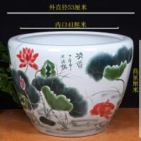 景德镇陶瓷鱼缸手绘特大号金鱼缸荷花缸庭院养鱼缸水族鱼箱书画缸