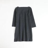 秋冬女连衣裙 长袖圆领绗缝森系打底短裙1C