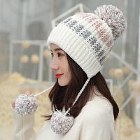 毛线帽子女冬天月子针织帽套头帽女时尚可爱护耳保暖潮帽