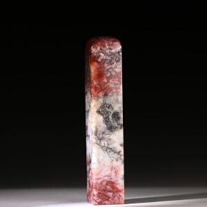 寿山巧色高山玛瑙石 精雕深山雅趣薄意印章 p4232