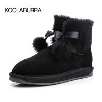 雪地靴女短筒冬季皮面棉鞋baby同款加绒靴子2018新款可爱毛球短靴SN4420
