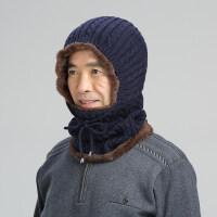 冬季老人帽子女中老年人帽男冬季加绒毛线帽骑车防风帽围脖连体帽xx 弹性很好