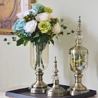 欧式家居客厅家装饰品欧式美式样板房间桌面玻璃高脚花瓶花器摆件